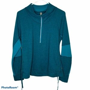 Lucy Large Teal 1/4 Zip Pullover Jacket Thumbholes